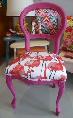 Restored Vintage French Style Chair with Flamingo print by Flamingo Decor, Pink Flamingos, Flamingo Print, Chair Makeover, Furniture Makeover, Funky Furniture, Painted Furniture, French Style Chairs, Pink Bird