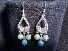 Silver Chandler Earrings with Green & Blue swirl glass pearls