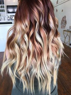 balayage ombre hair cuivre et blond b e a u t y pinterest cheveux coloration cheveux et. Black Bedroom Furniture Sets. Home Design Ideas