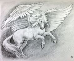 ORIGINAL Pegasus Horse Rearing Graphite Pencil by SparksaFlying