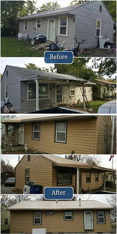 A new metal roof and new siding completely transforms the look of this home!