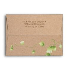 English Ivy Wedding Envelope custom gift ideas diy