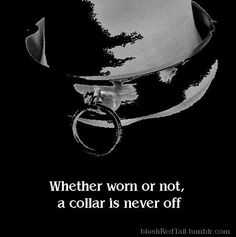 Whether worn or not a collar is never off. Bdsmm quote submission dominant sub daddy slave dom master