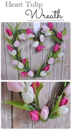 Love this sweet Valentine's Day wreath from One Project Closer! xoxo