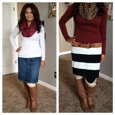 Boots & Skirts Outfits. Jean skirt, plaid scarf, & sweater. Striped skirt, burgundy shirt, leopard scarf. Fall outfits. Modest ideas. Modern Modesty.