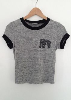 elephant graphic band contrast crop top