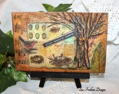 """Teabag Art Quilted Fabric Card, Greeting Card/Postcard/Gift, Mixed Media, Fiber Art, Textile Art, Bird/Tree, Hand-painted & Stitched 4"""" x 6"""""""
