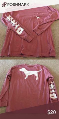 Victoria's Secret Pink Campus Long Sleeve Great condition! Price is firm PINK Victoria's Secret Tops Tees - Long Sleeve