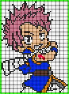 Chibi Natsu Fairy Tail perler bead pattern Just change the light blue to dark blue or black then it will be good. Pixel Art Templates, Perler Bead Templates, Perler Patterns, Pixel Art Fairy Tail, Pixel Pattern, Pattern Art, Alpha Patterns, Canvas Patterns, Pixel Art Manga