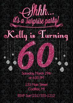 60th birthday invitation gold glitter birthday party invite adult pink glitter 60th birthday invitation adult birthday party invitation diy or printed invite solutioingenieria Images