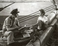 DOWN TO THE SEA IN SHIPS (1949) - Richard Widmark & young Dean Stockwell on a whaling ship - Directed by Henry Hathaway - 20th Century-Fox - Movie Still.