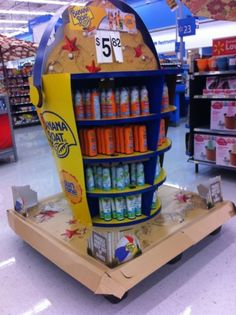 Banana Boat pallet display in Wal-Mart. Oversized sand pale design stood out in the checkout aisles.