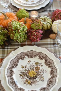 I'm at the table for fall's last hurrah, with plaid, pumpkins, and the last of the hydrangeas. Fall is my favorite season and has been late to arrive in North Carolina thi… Thanksgiving Crafts For Kids, Thanksgiving Table Settings, Thanksgiving Tablescapes, Holiday Tables, Thanksgiving Decorations, Christmas Tables, Kids Crafts, Autumn Table, Napkin Folding
