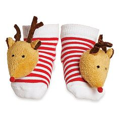 These adorable socks will ensure you know when your little one is on the move...before, during, and after the celebrating! The striped cotton socks feature plush reindeer toes that rattle when baby kicks. Festive style that will keep toes warm and comfy. $9.99