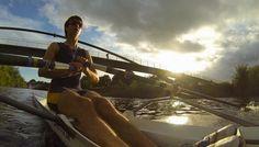 Myself Rowing in single scull, under millennium bridge in York City, UK.