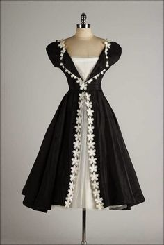 black white vintage dress