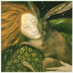 Hare Huggle : Wendy Andrew : Artists : Home : Pagan/spiritual and fairy/fantasy greeting cards, prints and gifts at Moondragon Hare Illustration, Illustrations, Fantasy Kunst, Fantasy Art, Lapin Art, Celtic Goddess, Clark Art, Rabbit Art, Rabbit Totem