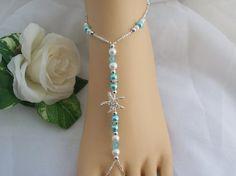 Blue Starfish Foot Jewelry Wedding Starfish by JewelryByAngel, $24.00
