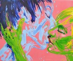 MLADIN VALERIU (n. 1958 ) Sãrutul / The kiss Kiss, Abstract, Artwork, Painting, Feral Cats, Summary, Work Of Art, Auguste Rodin Artwork, Painting Art