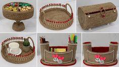 Space Saving Storage, Storage Organization, Sisal, Jute Crafts, Straw Bag, Baby Shoes, Basket, Projects, Diys