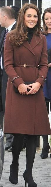 Who made Kate Middleton's red belted coat, jewelry, and black dress? Coat – Hobbs  Dress – Oasis  Earrings – Kiki McDonough