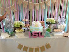 Dessert table from my daughter's first birthday. Inspired by burlap, lace...shabby chic, vintage and spring colors...all DIY