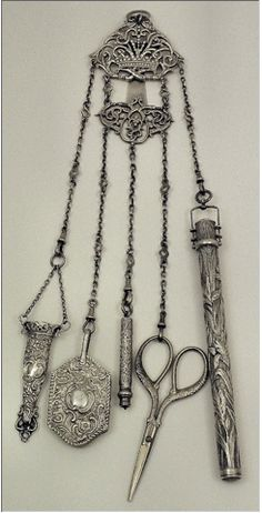 "1899 Chatelaine | Seriously, why don't we wear these anymore instead of a purse where everything gets ""lost""?"