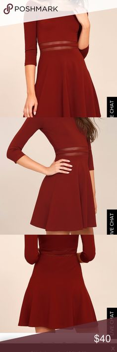 """Lulu's Wine Red Skater Dress NWT """"Yes to the Mesh Wine Red Skater Dress"""" size small. Never worn before, with tags! Very flattering fit with a flare at the bottom. Off the shoulder. Size small Lulu's Dresses"""