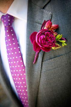 Fuchsia Peony Boutonniere | Michael Daigian Design | Arrowood Photography | TheKnot.com