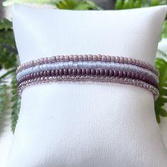 4 Plum Frosting Individual Beaded Bracelet Set Stretch | Etsy