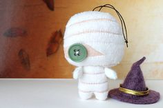 Patterns Felt Mummy Ornament by typingwithtea on Etsy, $4.00