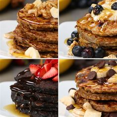 Featuring Healthy Banana This number Pancakes, Healthy Peanut Butter Chocolate Chip Pancakes, Healthy Dark Chocolate Pancakes and Healthy Blueberry Pancakes