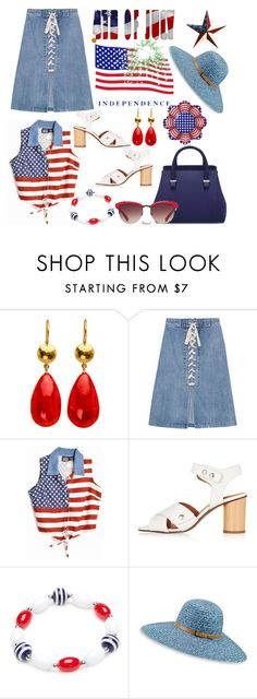 """""""Happy Independence Day!"""" by hastypudding ❤ liked on Polyvore featuring Sea, New York, Topshop, Kim Rogers, Betmar, redwhiteandblue, independenceday, july4th and fashionset"""