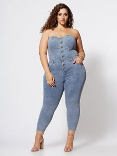 Plus Size Iyanna Strapless Denim Jumper in Light Wash Size 0 - Fashion to Figure Plus Size Dresses, Plus Size Outfits, Best Plus Size Jeans, Plus Size Posing, Denim Jumper, Denim Jumpsuit, Ruffle Jumpsuit, Dress With Jean Jacket, Trendy Plus Size Fashion
