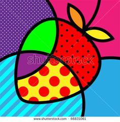 Pop art inspiration for class Romero britto palette strawberry basic simple wasy Pop Art Pour Les Enfants, Illustration Pop Art, Pop Art For Kids, Tableau Pop Art, Fruit Vector, Modern Pop Art, Modern Artwork, Arte Country, Graffiti Painting