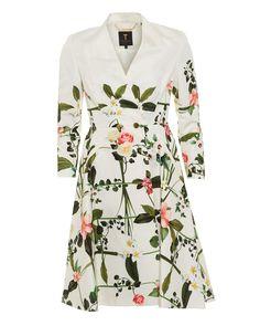 Ted Baker Giova Ladies Coat Secret Trellis Textured Cream Full Skirt Coat