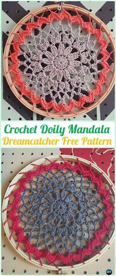 Crochet Doily Mandala DreamCatcher Free Patterns - #Crochet Dream Catcher Free Patterns