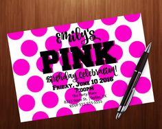 Invitación fiesta de cumpleaños adolescente rosa secreto