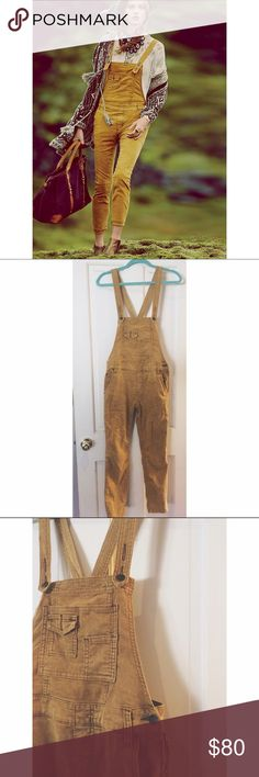 Free People Corduroy Overalls Great condition! Mustard Yellow Corduroy Overalls! Free People Other