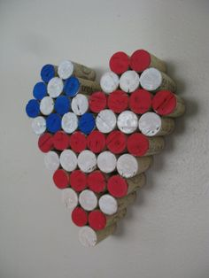 Red white and blue wine cork heart for the 4th.