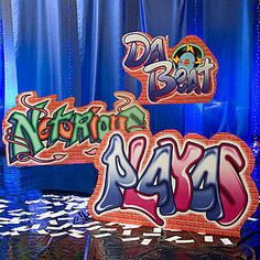 These unique Hip Hop Graffiti Signs will give your party venue an urban feel. The set of three graffiti signs include:  Notorious, Da Beat,and Playas.