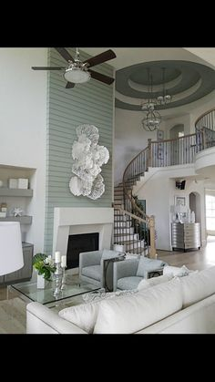 Fireplace Glass Doors, Floating Fireplace, Wood Fireplace Mantel, High Ceiling Living Room, Faux Shiplap, Tall Ceilings, Interior Design Living Room, New Homes, Country Style
