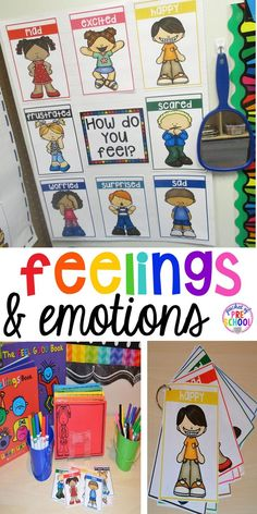 Everything you need to teach all about feelings for back to school --feeling posters/cards (big & small) feeling photographs feeling wheels feeling graphs feeling writing paper and tons of feelings activities you can do in your early childhood classroom. Emotions Activities, Social Emotional Activities, Social Emotional Development, Preschool Activities, Teaching Emotions, Language Development, Child Development, Preschool Classroom, Feelings Preschool