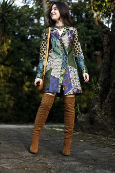 Statement Coat + Over The Knee Boots Outfit + Colorful Outfit + Fashion Blogger