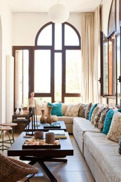 gorgeous living room turquoise accents
