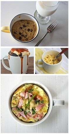 easy meals in a mug! perfect for college students! I'm lightening the reigns on antimocrowave so long as it's not plastic.