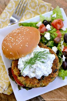 Greek Veggie Burgers with Cucumber Feta Sauce recipe ... serve these amazing vegetarian burgers with a simple salad for a delicious vegetarian meal!
