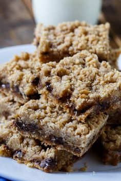 Oatmeal Carmelitas - chocolate chips and caramel sauce sandwiched between oatmeal cookie layers.
