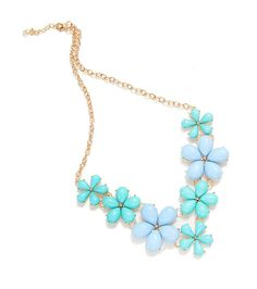 Big Flower Choker Necklace Pink Blue Colorful Glod Chain Plant Resin Statement Necklaces&Pendant For Women Fashion Jewelry