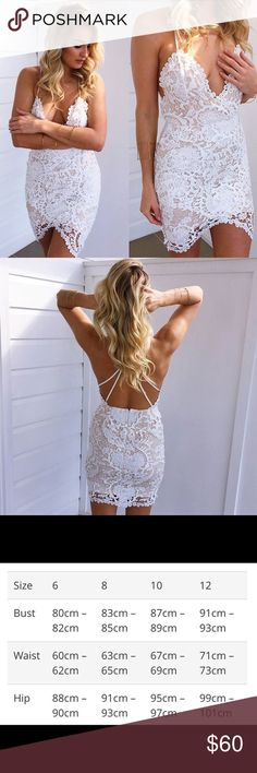 🎉HP Sale! 👼🏼 Margot Lace Backless Dress {White} 📸 Mura Boutique. Please see pic for sizing information. 1️⃣ Available in US M {AUS 12/L}. Model wears US XS {AUS 8/S}. Chosen as a Style Obsessions HP 11/8!🌟 Boutique Dresses Backless